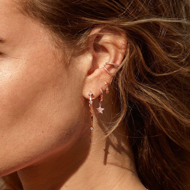 Tiny Rose Gold Hoops A Set of Rose Gold Huggie Hoop Earrings Rose Gold-filled Small Hoops